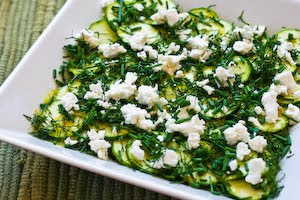 Raw Zucchini Salad with Lemon, Herbs, and Goat Cheese found on KalynsKitchen.com