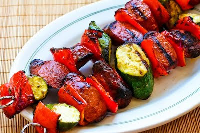 Original Photo World's Easiest Kabobs with Grilled Zucchini and Sausage found on KalynsKitchen.com