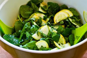 Raw Summer Squash Salad Recipe with Arugula, Feta, and Herbs found on KalynsKitchen.com