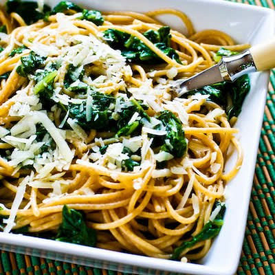 Whole Wheat Spaghetti with Garlic, Chard, and Pecorino-Romano Cheese found on KalynsKitchen.com