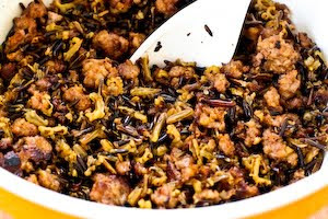 Wild Rice with Sausage and Mushrooms found on KalynsKitchen.com