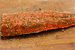 Roasted Wild Salmon with Soy-Wasabi-Agave Glaze and Green Onions found on KalynsKitchen.com.