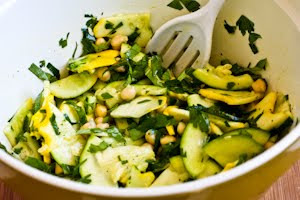 Marinated Summer Squash and Chickpea Salad with Lemon, Herbs, and Parmesan