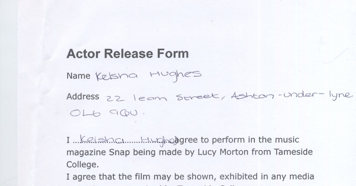 Lucy Morton Media Blog Research and Planning Actor release forms - actor release form