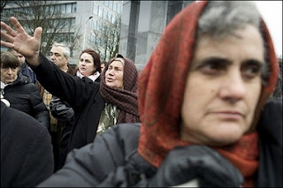 Survivers of the war in former Yugoslavia protest outside the Peace Palace in The Hague, against the verdict of the International Court of Justice. Muslim and Croat victims of Bosnia's 1992-1995 war, including Srebrenica massacre survivors, were outraged today at a ruling by the UN's top court to clear Serbia of genocide against Bosnia