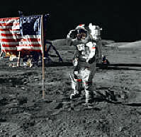 Astronaut Cernan saluting the flag
