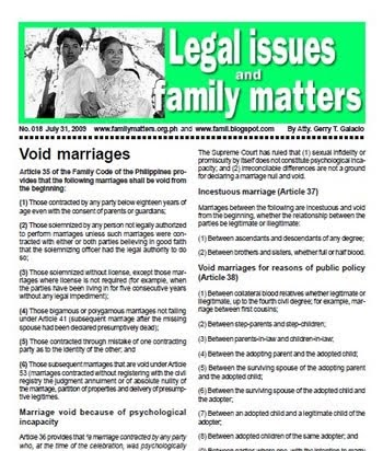 essential and formal requisites of marriage in the family code of the philippines No, it is stated in in the family code of the philippines that the contracting   absence of any of the essential or formal requisites shall render the marriage  void.