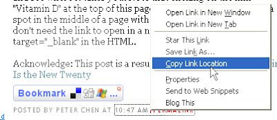 right-click on Blogger timestamp to get post URL