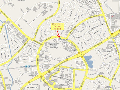location map of Crystal Crown Hotel, Jalan Utara, PJ