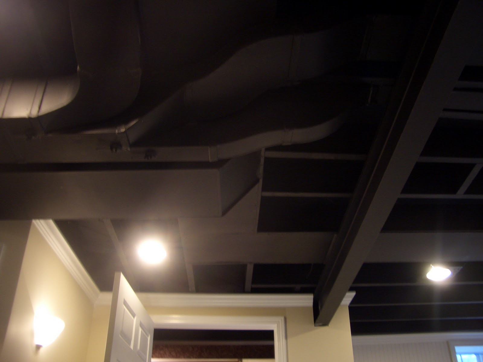 Cool home creations finishing basement black ceiling for White walls black ceiling