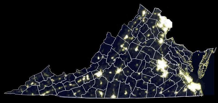 Dark Virginia Sky: Satellite Map of Virginia Light Pollution