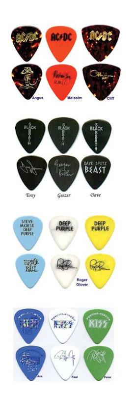 Guitarristas famosos e suas palhetas