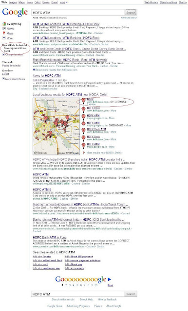 Google search results according your location