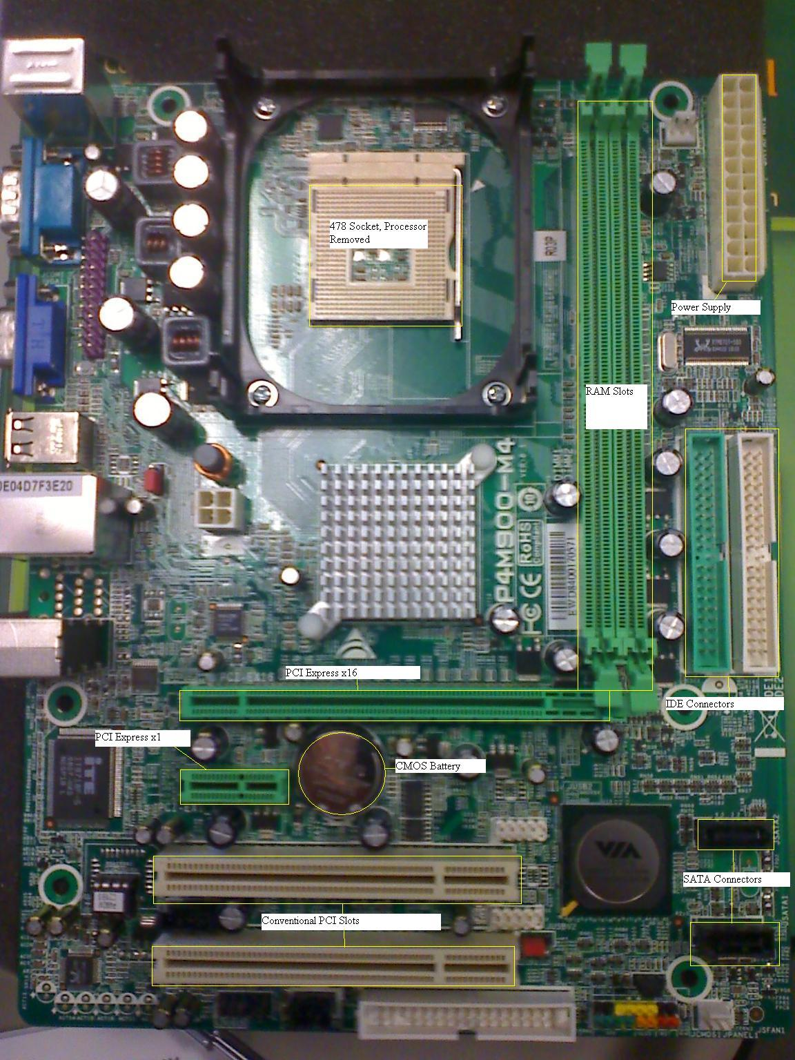 small resolution of below are labeled diagrams of the motherboard and of the ports coming out the back from the motherboard