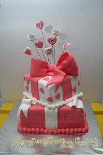 Butterfly Cake Crystals 21st Birthday Cake Red Ribbon Design