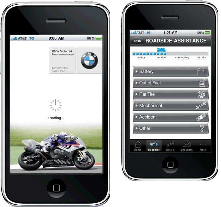 MotomaD: IPhone + BMW Motorcycles = Roadside Assistance App