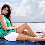 Vijaya Lakshmi in Green Top & White Shorts Spicy Images