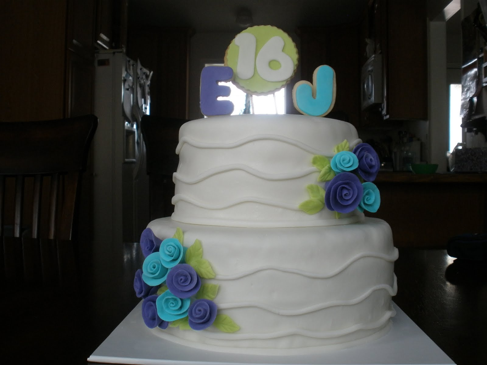 It S A Piece Of Cake Purple And Teal 16th Birthday Cake