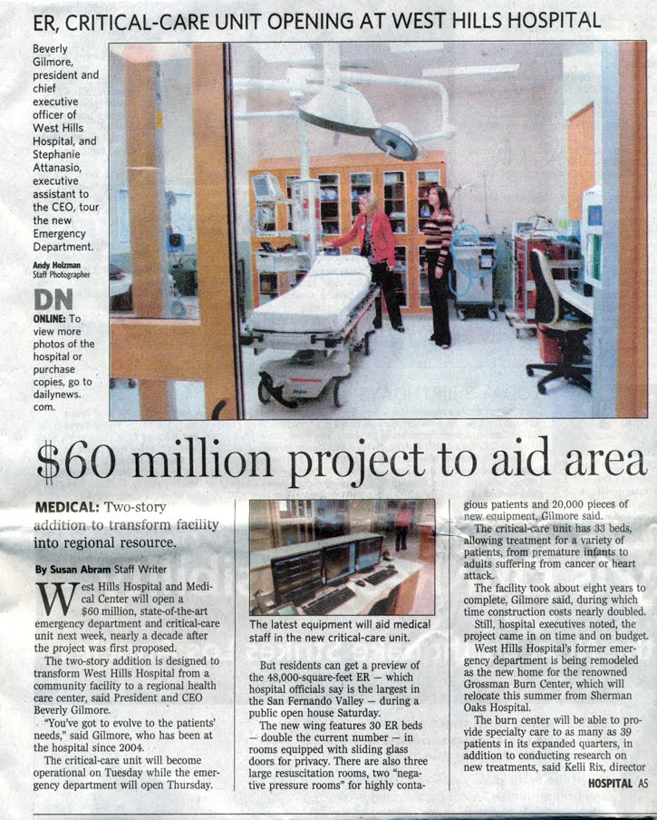 West Hills Hospital Building Expansion Featured on Front