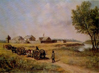 Painting of Fort Pembina in the 1870s