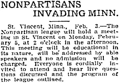 Announcement for a February 3, 1917 NPL Meeting in St. Vincent