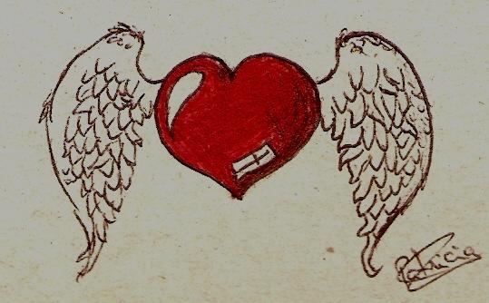Como Dibujar Un Corazón En 3d Con Lineas: Dibujos De Un Corazón Con Alas