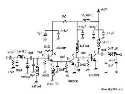 presented is a three stage 3w fm transmitter amplifier using 2sc9018