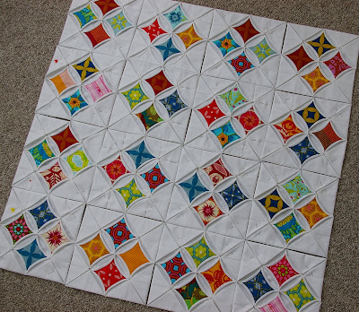 Cathedral Windows Quilt Progress During Quiet Time