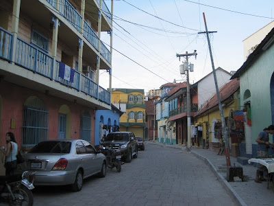 color street in flores island guatemala