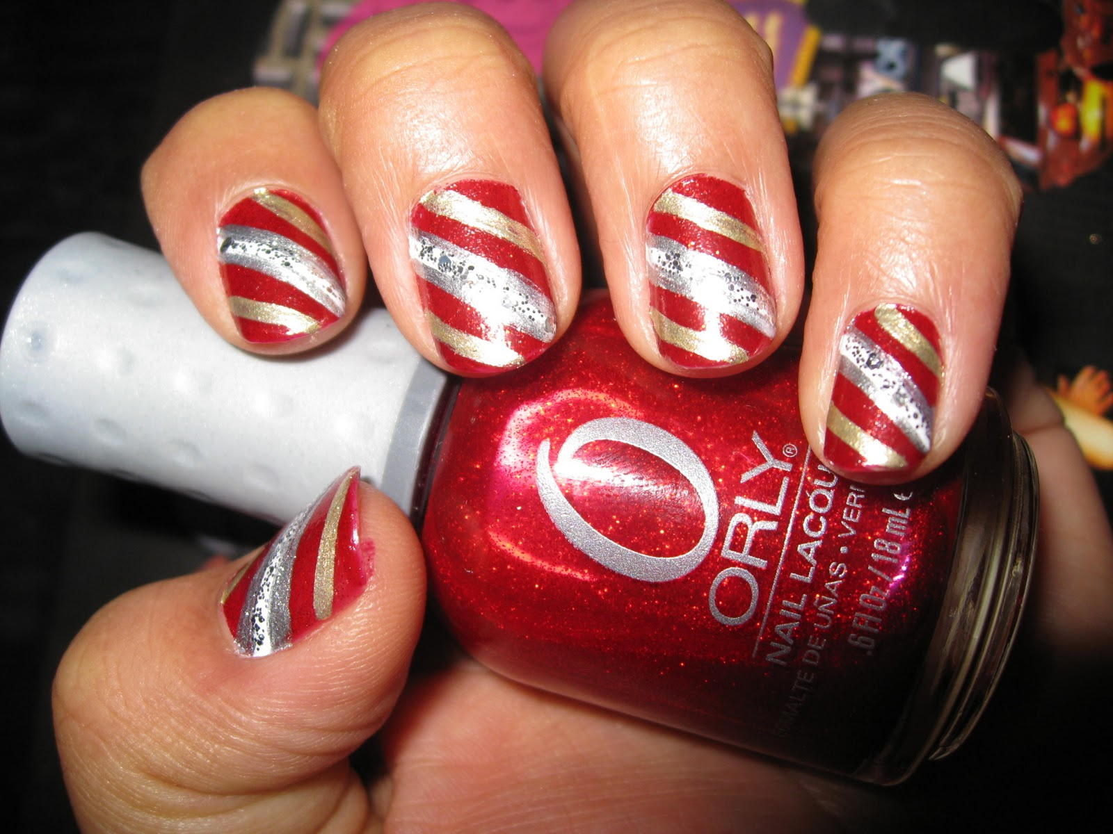 Nail Obsession - Candy Cane (Red & White) Nail Designs
