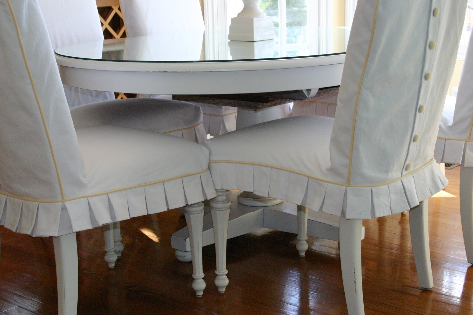 checkitoff slipcovers  a painted white kitchen table