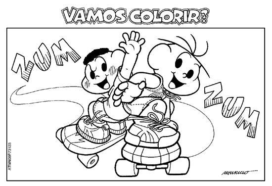 Desenho Cebolinha E Cascao Andando De Skate Turma Da Monica