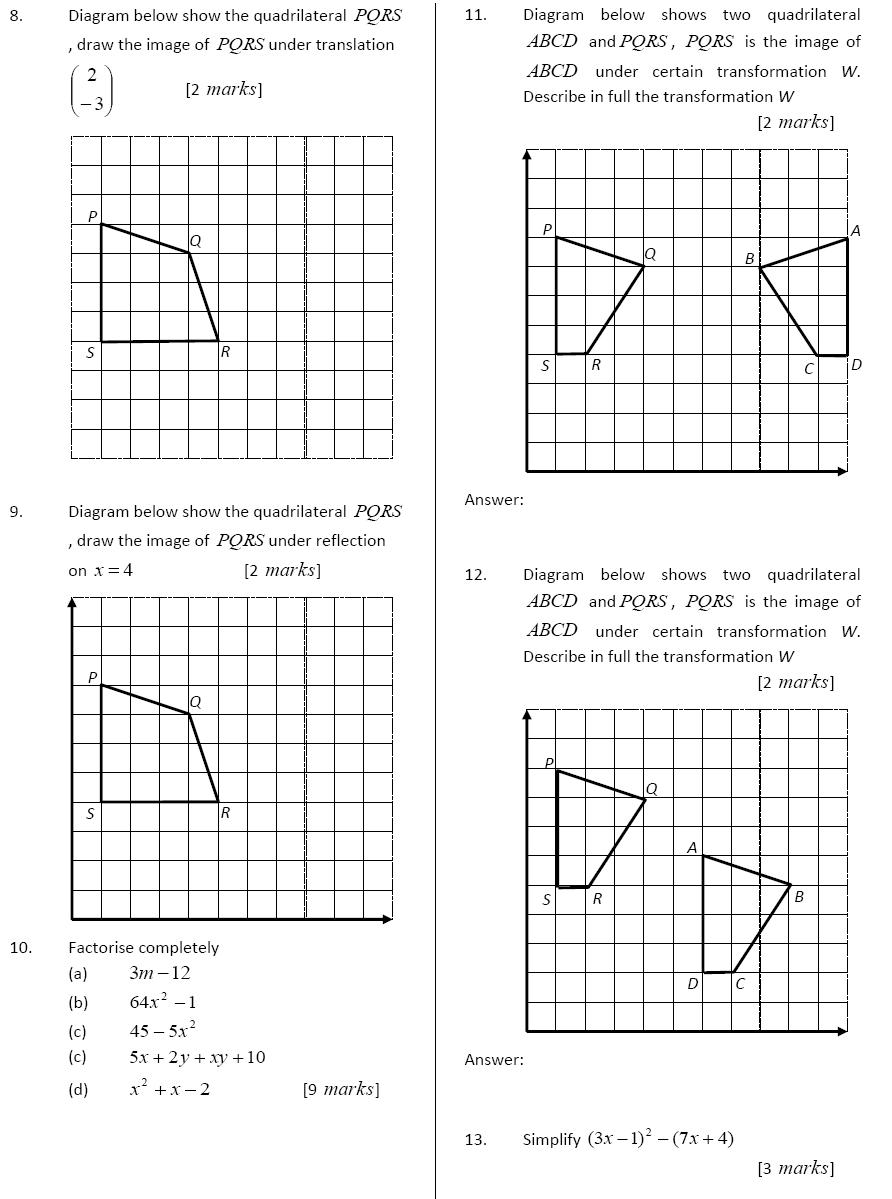 Panitia Matematik: PRE TEST UJIAN OGOS TINGKATAN 2 TAHUN 2010