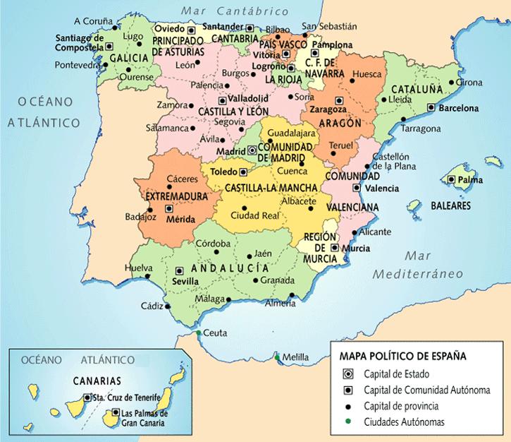 Mapa España Comunidades Autonomas Y Provincias.Pz C Provincias Espana