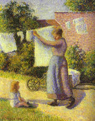 Woman Hanging Laundry by Cammile Pissaro, 1887