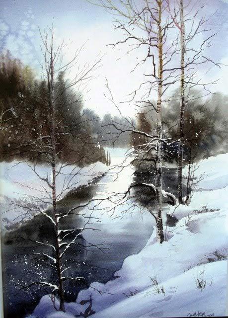 brush paper water winter scenes anders andersson