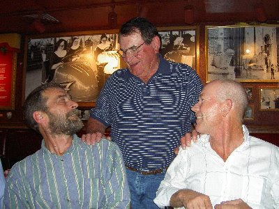 Farriers Larry Rumsby and Joe Johnson celebrate the stellar career of Seamus Brady