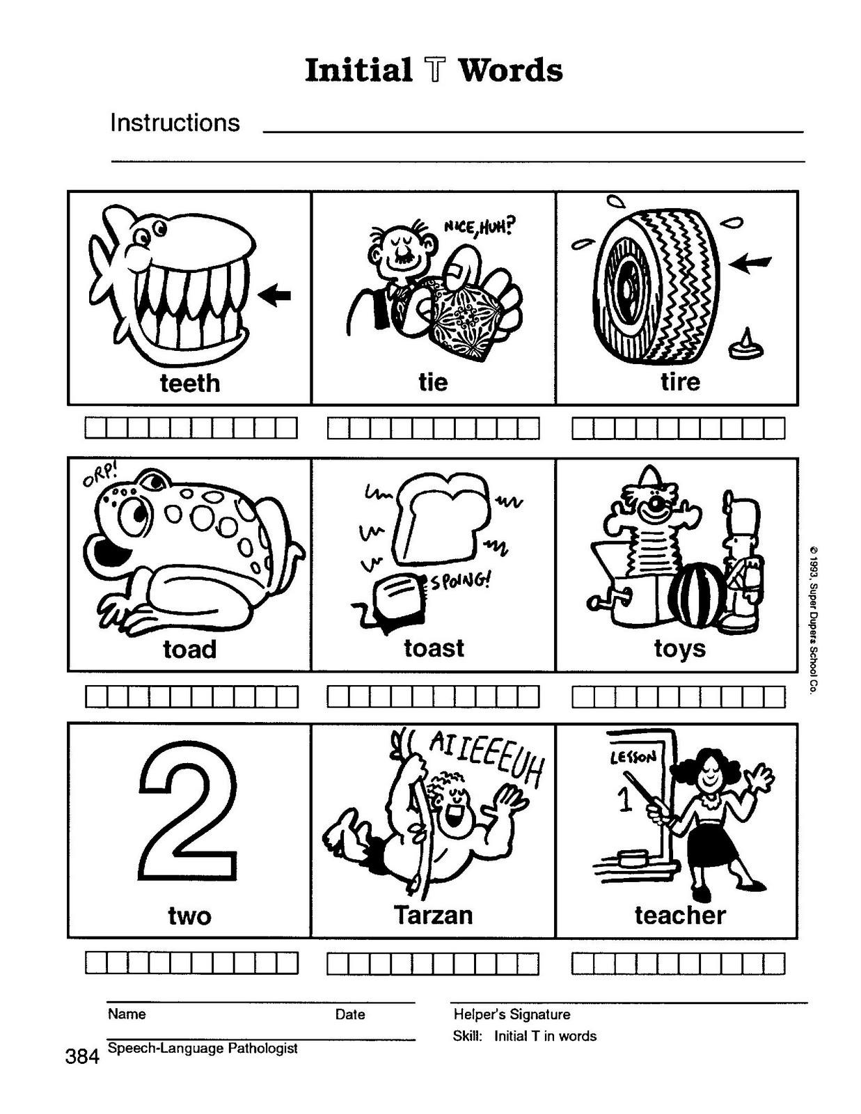 Cute Initial F Words Worksheet