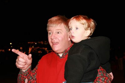 Brady and Paul watching the Christmas Parade