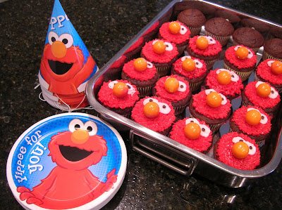 Mike Helped Me Make These Fun Elmo Cupcakes To Match The Theme