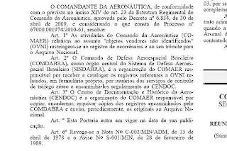 Texto da portaria 551/GC3, sobre o relato de casos de óvni à FAB, publicada no DO. Reprodução