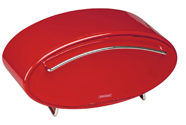 red bread box from enameled steel