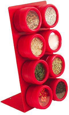 counter top spice rack, red