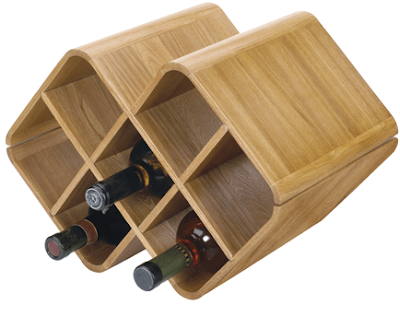 oak counter top wine rack with bottles