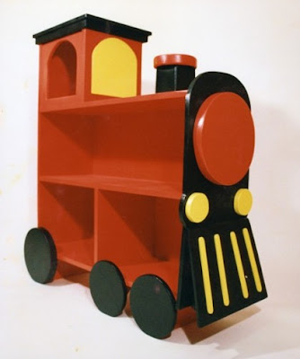 bookcase shaped like a train