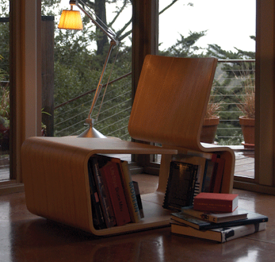 chair with book storage on shelf under the seat