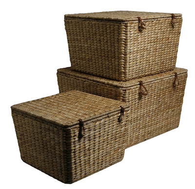3 water hyacinth square baskets with lids