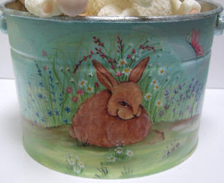 bucket with picture of bunny