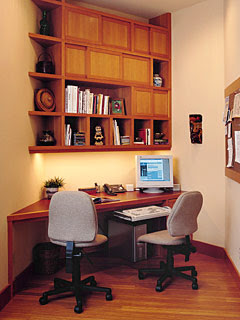 home office in an oddly shaped alcove