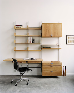 modular furniture - wall mounted desk, bookshelves, storage